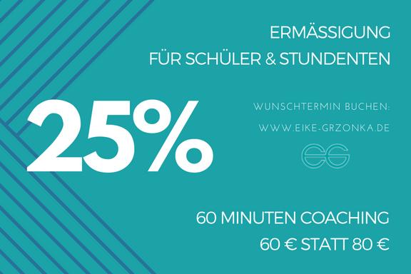 25% RABATT für Schüler und Studenten Coaching Stress Prüfungen bei Eike Grzonka in Haan
